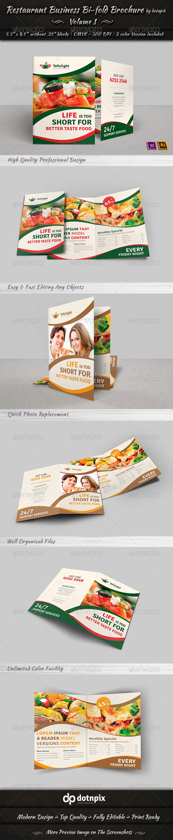 Restaurant Business Bi-Fold Brochure | Volume 1 - Corporate Brochures