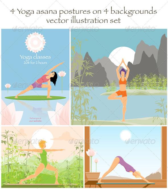 4 Yoga Asanas on 4 Backgrounds - People Characters