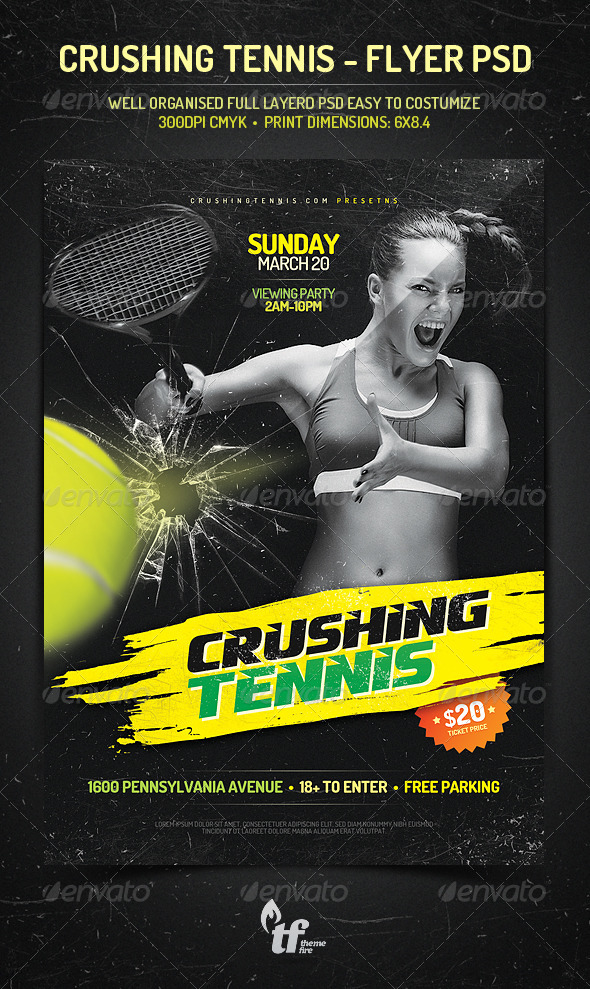 Crushing Tennis - Flyer PSD Template - Sports Events