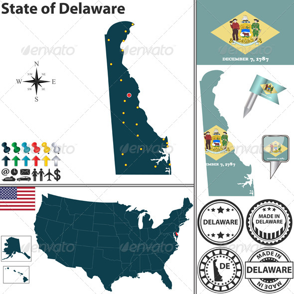 Map of State Delaware, USA - Travel Conceptual