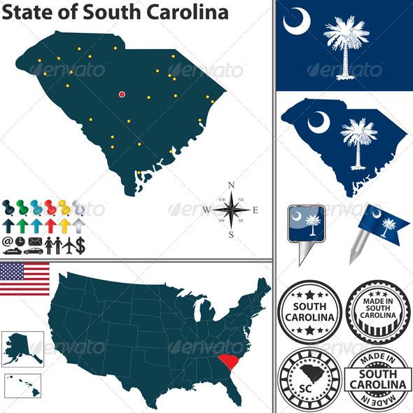 Map of State South Carolina, USA - Travel Conceptual