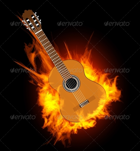 Acoustic Guitar in Fire Flame - Man-made Objects Objects