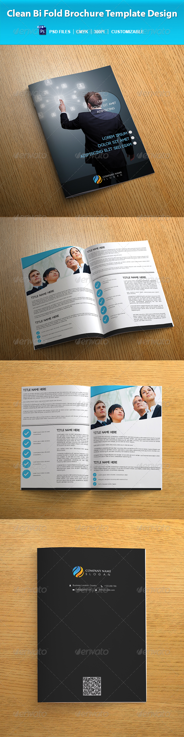 Clean Bi Fold Brochure Template Design - Corporate Brochures