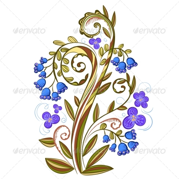 Decorative Floral Colored Pattern with Bluebells - Flowers & Plants Nature