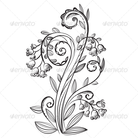 Decorative Floral Pattern with Bluebells - Flowers & Plants Nature