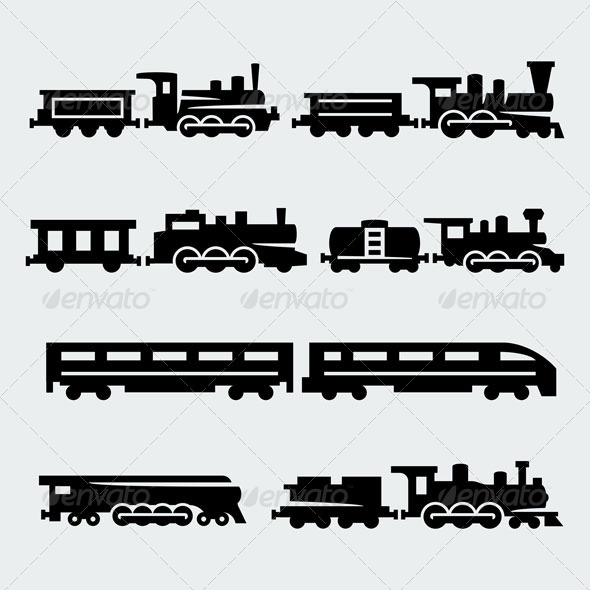 Trains Silhouettes - Technology Conceptual