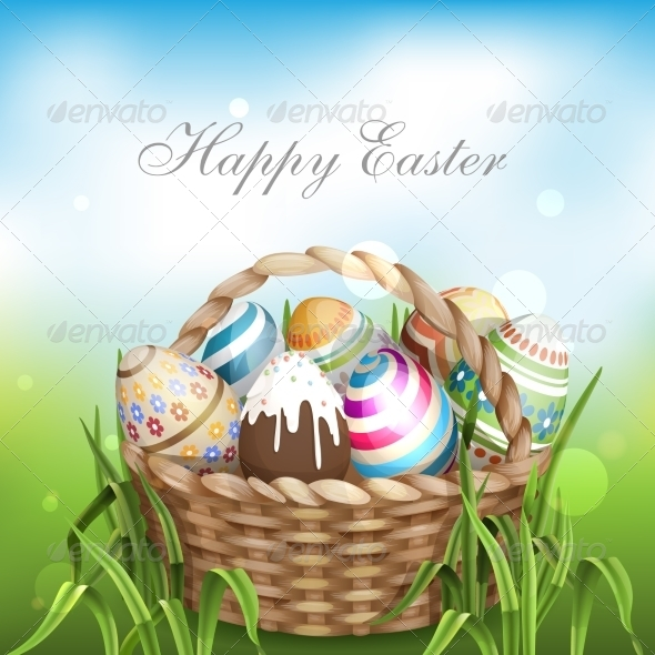 Easter Background With A Basket - Miscellaneous Seasons/Holidays
