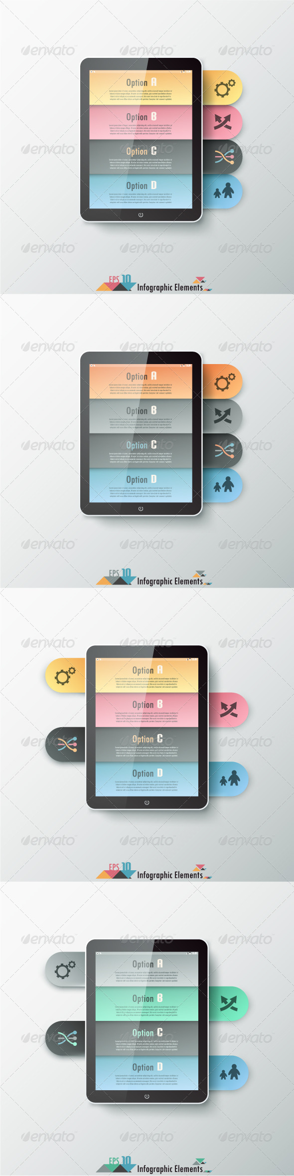 Modern Infographics Options Banner (Four Versions) - Infographics