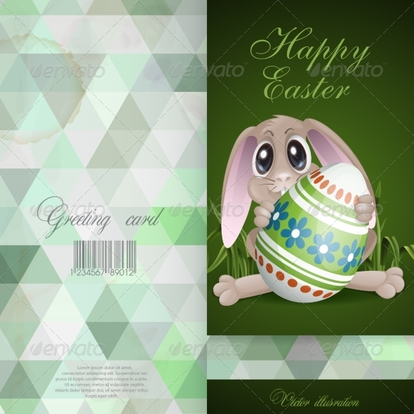 Easter Bunny with Colorful Egg - Miscellaneous Seasons/Holidays