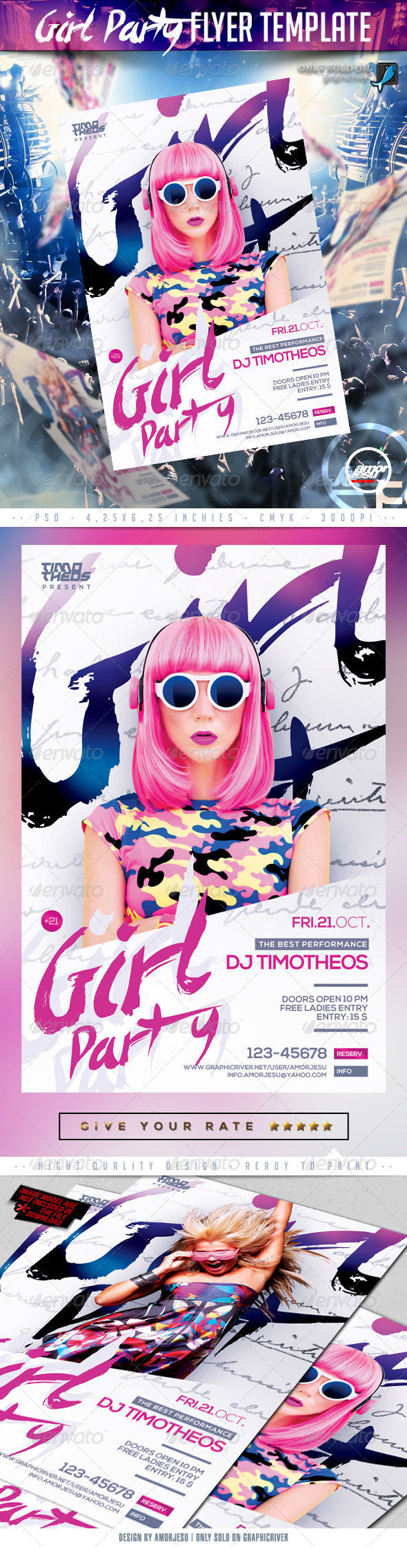 Girl Party Flyer Template - Clubs & Parties Events