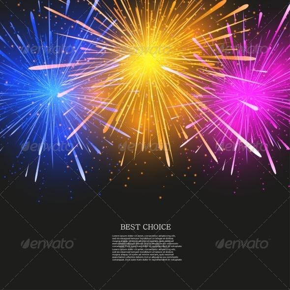 Vector Creative Fireworks Modern Background - Christmas Seasons/Holidays