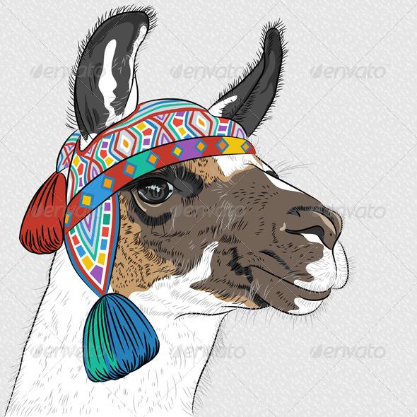 Sketch of Alpaca - Animals Characters