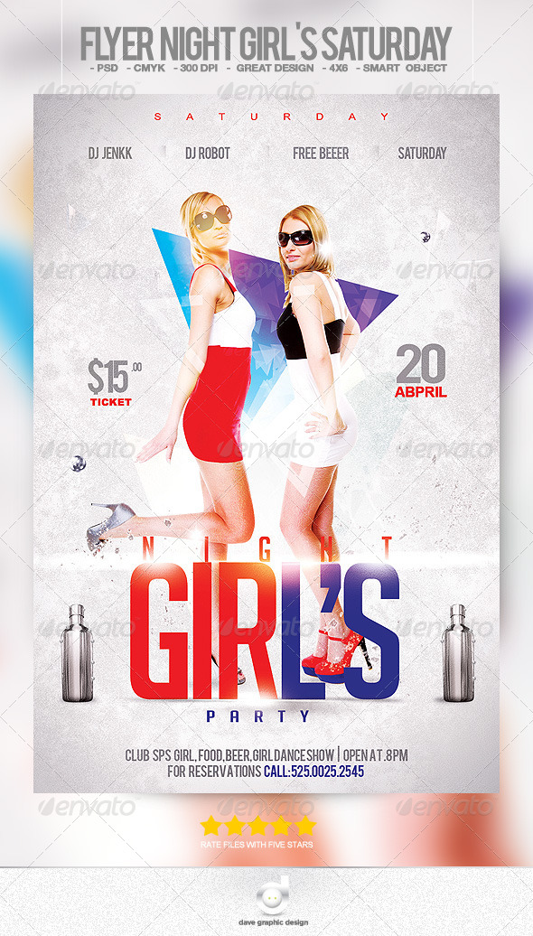 Flyer Night Girl's Saturday - Clubs & Parties Events