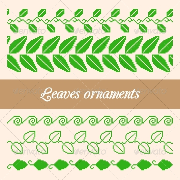 Seamless Ornaments of Pixel Green Leaves - Flowers & Plants Nature