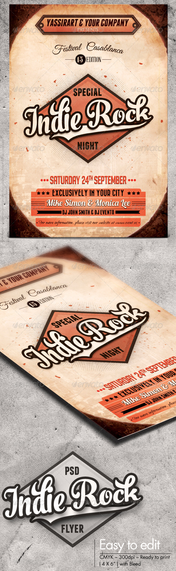 Indie Rock Flyer Template - Clubs & Parties Events