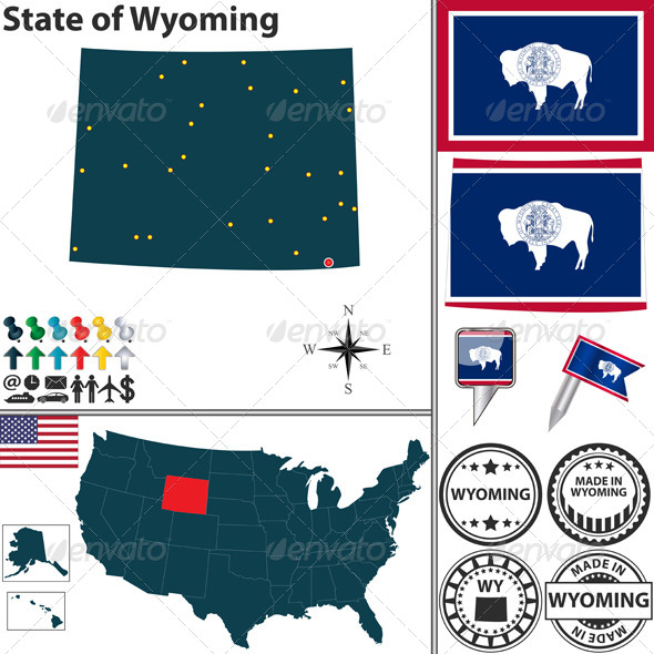 Map of State Wyoming, USA - Travel Conceptual