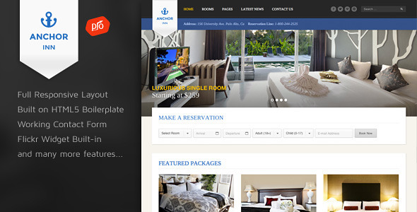 Anchor Inn – Hotel and Resort Site Template