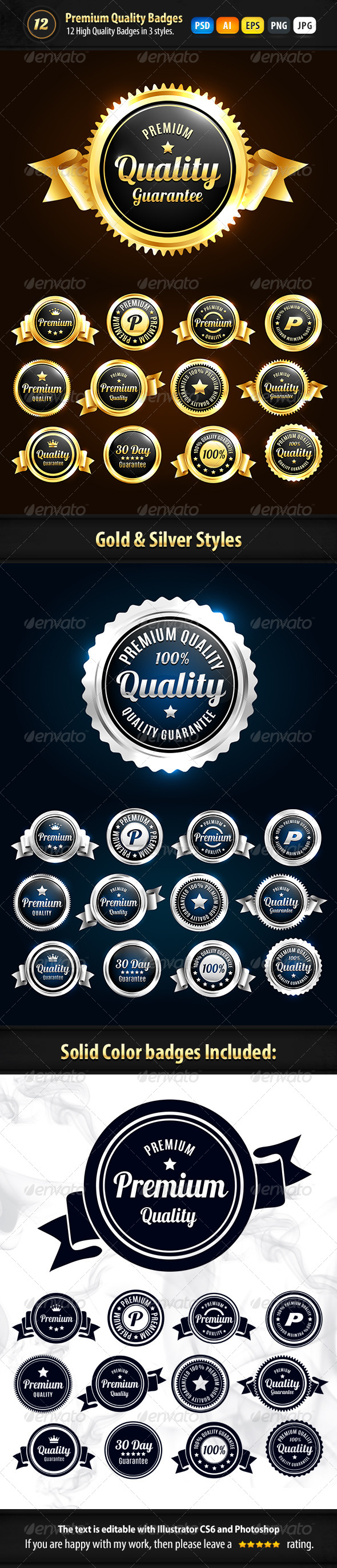 12 Premium Badges In 3 Styles - Badges & Stickers Web Elements