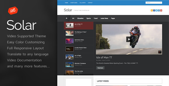 Solar – Video WordPress Theme