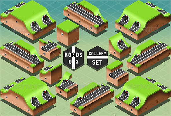Isometric Galleries Tunnels and Sections - Buildings Objects