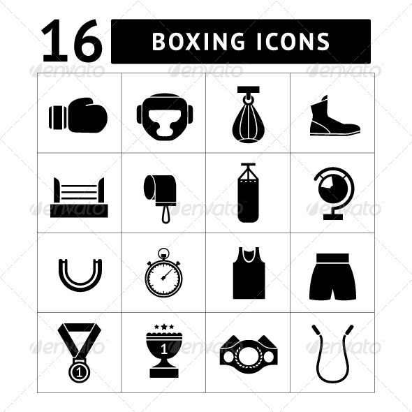 Set Icons of Boxing - Man-made objects Objects