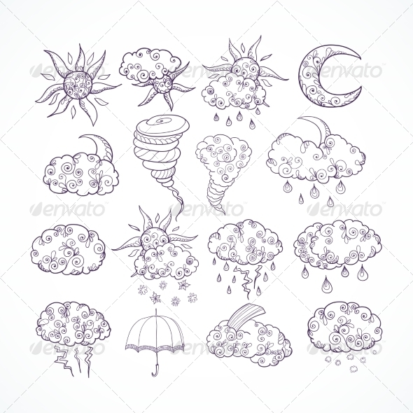 Doodle Weather Forecast Graphic Symbols - Decorative Symbols Decorative