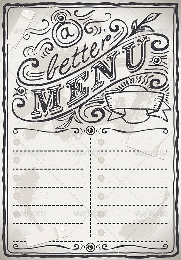 Vintage Graphic Page Menu for Restaurant - Backgrounds Decorative