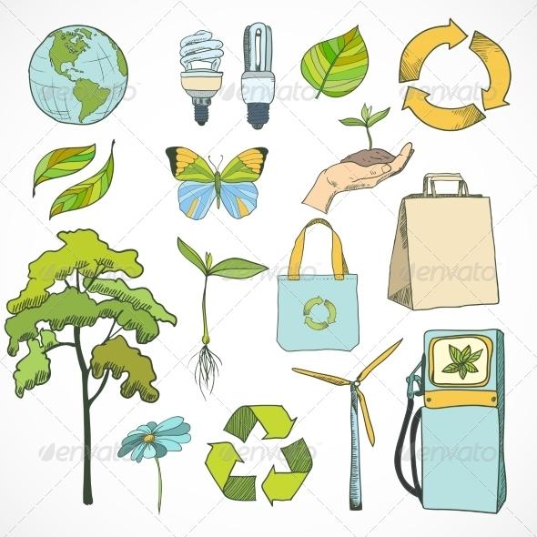 Doodles Ecology and Environment Icons Set - Decorative Symbols Decorative