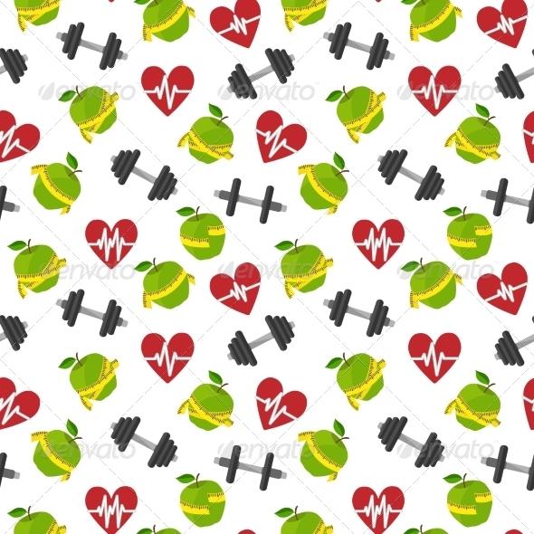 Fitness Symbols Seamless Pattern - Backgrounds Decorative