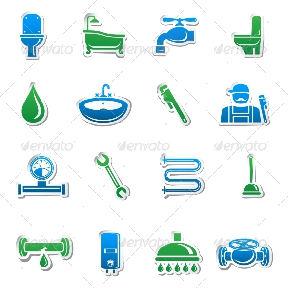 Plumbing Tools Sticker Collection - Industries Business