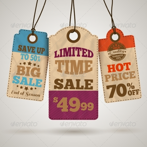 Cardboard Sale Promotion Tags - Retail Commercial / Shopping