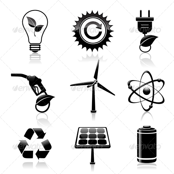 Energy and Ecology Black Icons Set - Web Elements Vectors