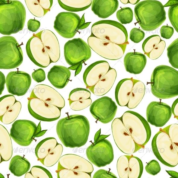 Seamless Apple Fruit Sliced Pattern - Backgrounds Decorative
