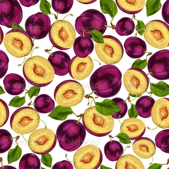 Seamless Plum Fruit Sliced Pattern - Backgrounds Decorative