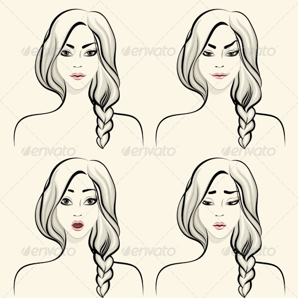 Woman Facial Emotions Set - People Characters