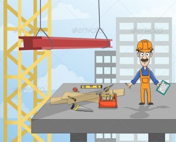 Construction Worker on Platform - Industries Business