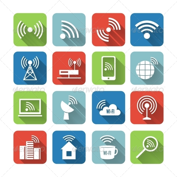 Wireless Communication Network Icons Set - Technology Icons