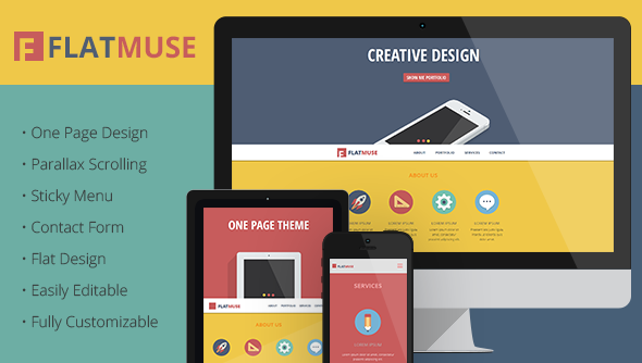 FlatMuse - One Page Paralax Muse Template - Muse Templates