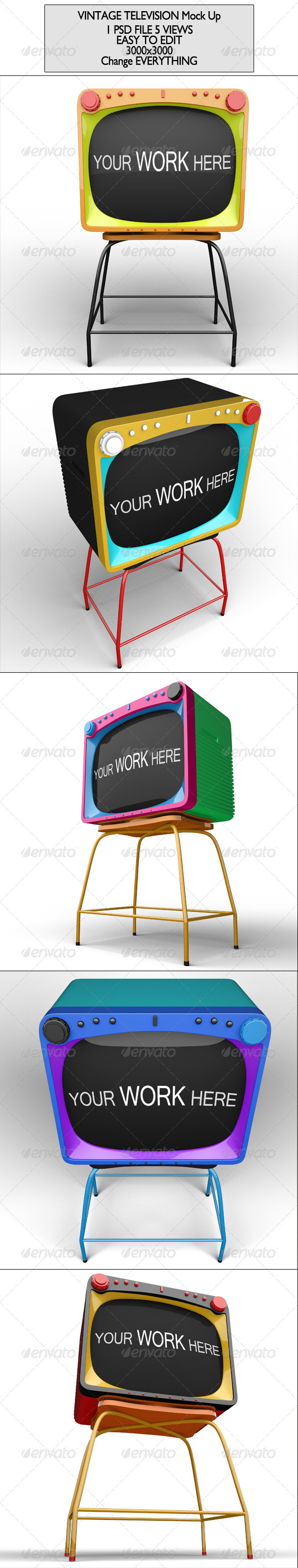 Vintage Television Mock Up - Product Mock-Ups Graphics