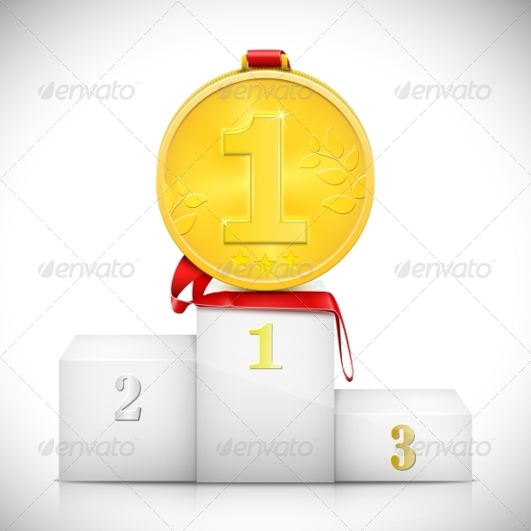 Gold Medal On Pedestal Of Winners - Concepts Business