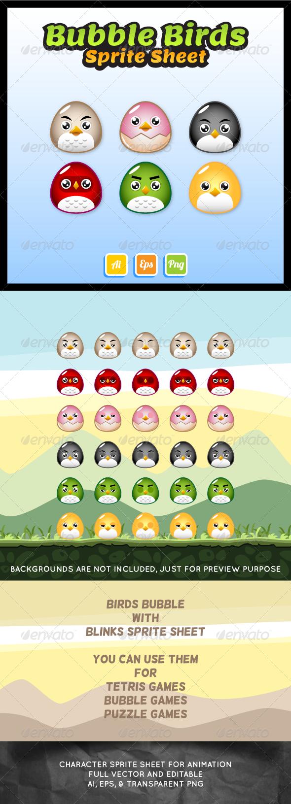 Bubble Birds Sprite Sheet - Sprites Game Assets