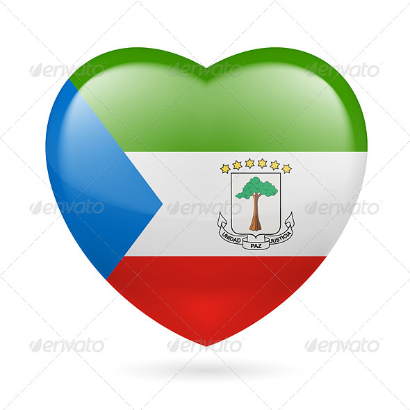 Heart Icon of Equatorial Guinea - Miscellaneous Vectors
