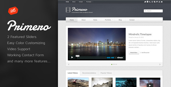 Primero – Video Site Template