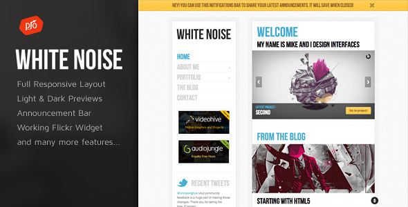 Free Download White Noise - HTML5 Template Nulled Latest Version