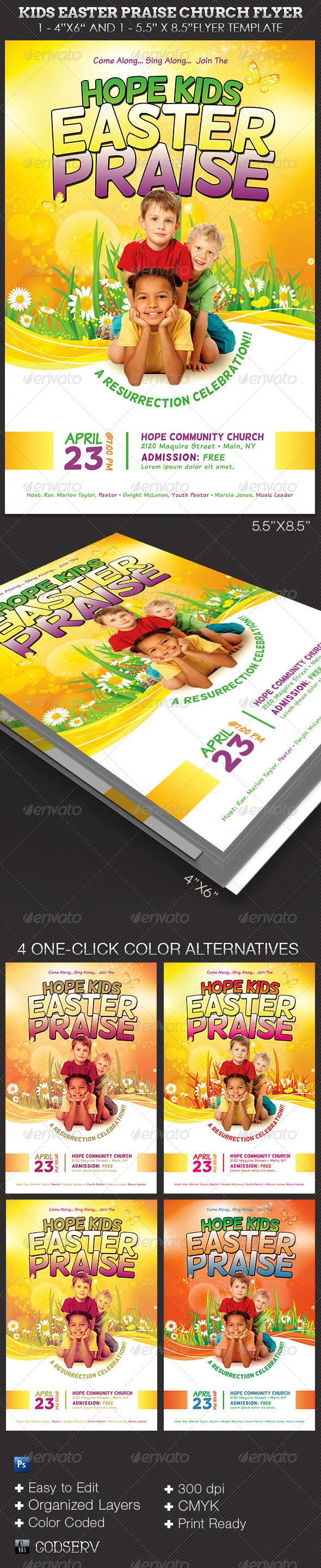 Kids Easter Praise Church Flyer Template - Church Flyers