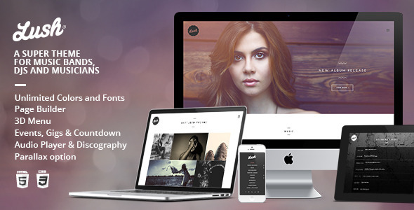 Lush - Music Band & Musician WordPress Theme - Music and Bands Entertainment