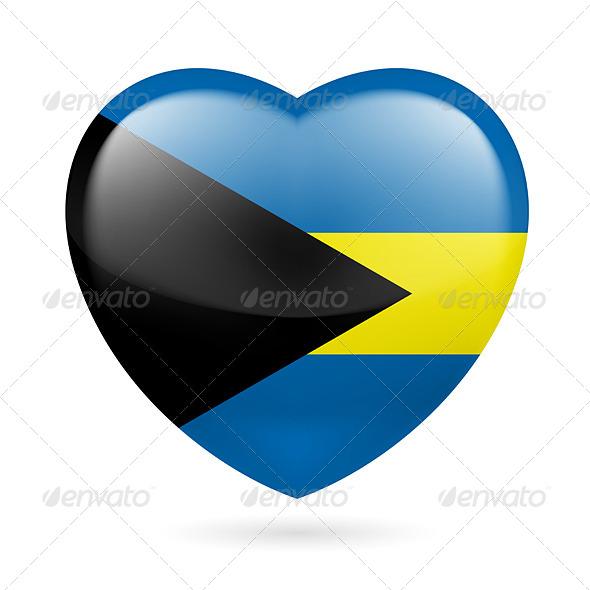 Heart Icon of Bahamas - Miscellaneous Vectors