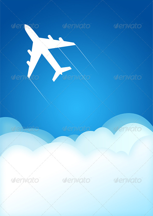 Airplane Illustration - Travel Conceptual