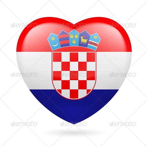 Heart icon of Croatia - Miscellaneous Vectors