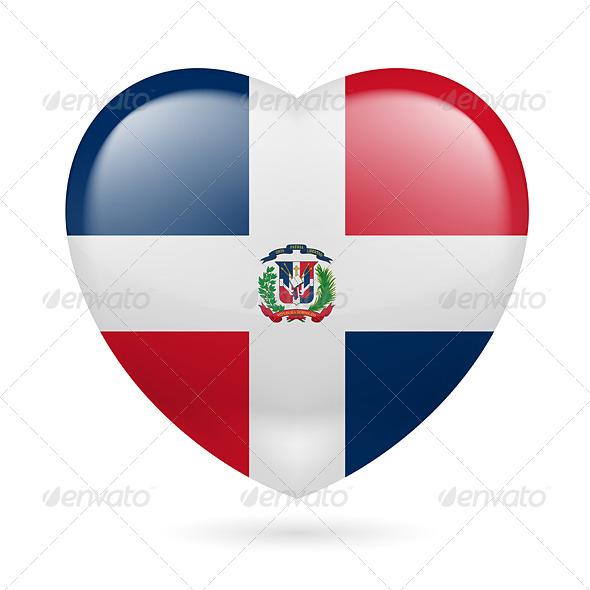 Heart Icon of Dominican Republic - Miscellaneous Vectors